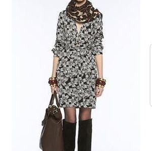 DVF Golda charcoal/gray indian daisy silk dress
